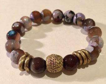 Bracelet/ Beaded Bracelet/ stackable Bracelet/ Stretch Bracelet/ Tea Agate Bracelet/ Ethiopian Bracelet