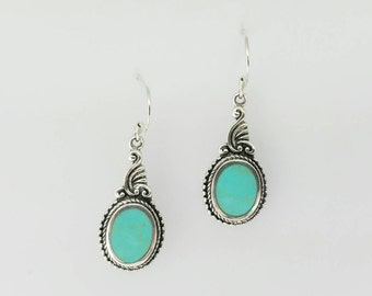 Turquoise Earrings~Silver Turquoise Earrings~Turquoise Art Nouveau Silver Earrings~Turquoise Stone Jewelry~December Birthstone~Gift for Her