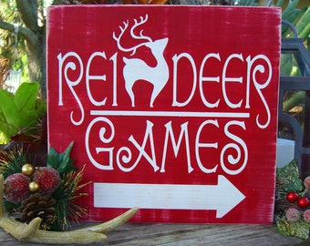Reindeer Games Sign,Reindeer Decorations,Rudolph Sign,Christmas Decor,Holiday Sign,Christmas Sign,Holiday Decor,Fireplace Mantle Decor,Gifts