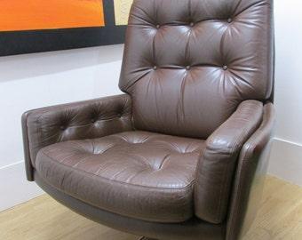 Danish Leather TV Swivel Chair