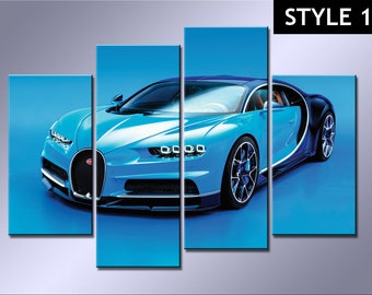 Bugatti Chiron Sports Car 4 Panel canvas