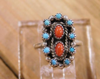 Sterling Silver Turquoise and Coral Ring Size 6