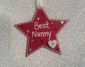 Best Nanny/Nana/Grandma Wooden Star Gift