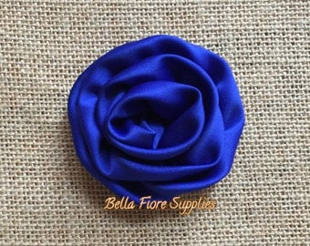 Royal Blue Satin Rolled Rosette Flowers, 3 inch Rosettes- DIY Satin Headband- Wholesale Satin Rosette Flowers
