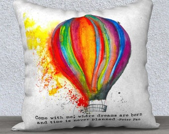 Hot Air Balloon Art Pillow Cover 16x16 – Colorful Watercolor Art Pillow with Inspirational Saying Perfect for Your Watercolor Art Decor