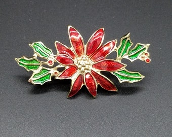 Vintage Poinsettia & Holly Enameled Lapel Pin, Brooch or Tie Pin