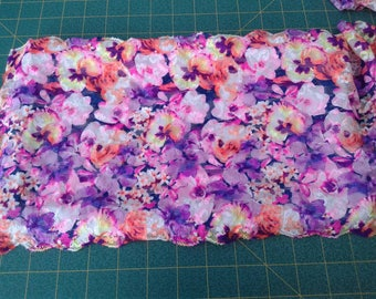 Purple Pink Floral Pansy 9 inch wide stretch lace