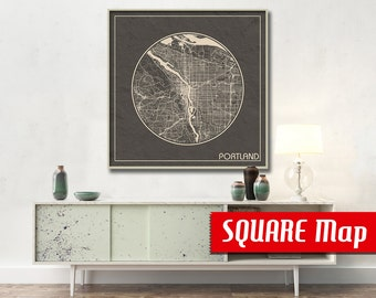 PORTLAND OR SQUARE Map Portland Oregon Poster City Map Portland Oregon Art Print Portland Oregon poster Portland map