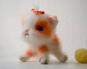 Needle Felted Cute Kitten Toy with Red Bow. White and Orange Cat Felted. Unique Cat Lover Gift. Wool Animal Figure Toy.