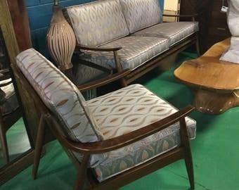 Ib Kofod Larsen style Midcentury Reupholstered sofa and chair set