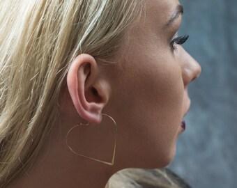 Heart Shaped Hoop Earrings in Gold