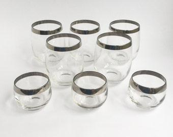 Madmen chrome rimmed glasses, 5 large, 3 small