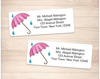 "Printable Pink Umbrella Address Labels - White Shower Personalized 2 5/8"" x 1"" Address Labels DIY Editable PDF - Instant Download"