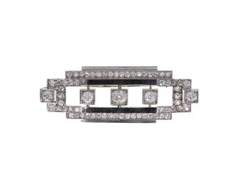1920s Art Deco Platinum Diamond Geometric Brooch