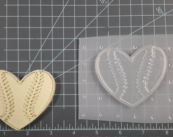 Heart Baseball Plastic Mold or silicone mold, Resin Mold, heart Mold, clay mold, baseball mold, sport mold, ornament, soap mold, bath bomb