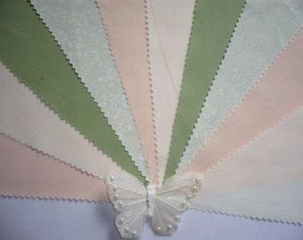 "3m Peach, Sage Green & Cream Fabric Wedding Bunting ""Willow"""