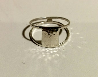 delicate silver ring - square
