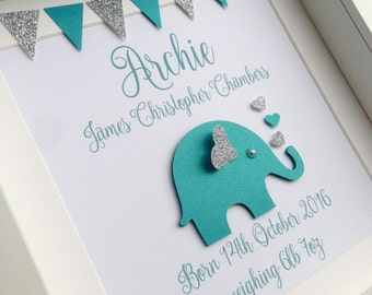 Baby boy gift, personalised baby gift, new baby gift, elephant art, christening gift, nursery decor, elephant nursery decor, nursery wall