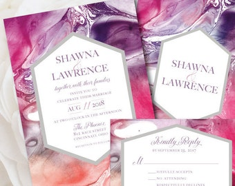 Marble Wedding Invitation, Modern Wedding Invitation, Marble Wedding Invite, Purple and Pink Wedding, Wedding Invitation, Elegant Invite