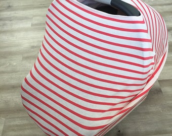 Sale Coral stripe multi use stretchy car seat cover, nursing cover, shopping cart cover