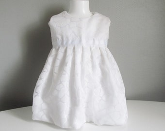 Off-white dress of baptism for baby hand-made - 12-month-old baby
