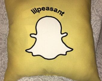 Snap Chat, Snap Chat Pillow, Snap Chat Wall Hanging, Social Media, Social Media Pillow, Social Media Wall Hanging