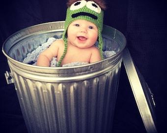 Oscar the Grouch Hat, Sesame Street Hat, Sesame Street Photo Prop, Halloween Costume, Baby hat, Toddler Hat, Child Hat