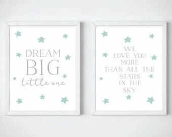 Dream Big Little One Print Duo - Nursery Prints