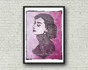Audrey Hepburn A4 Zentangle Colour Art Zentangle Motivational Print