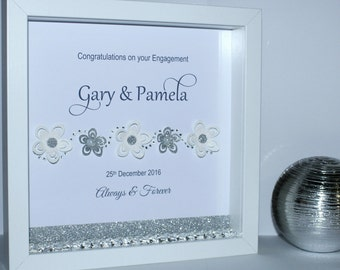 Floral glitter personalised wedding theme 3d box frame