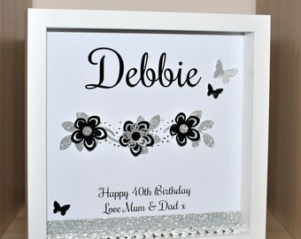 Personalised Birthday shadow box frame gift 18th 21st 30th 40th etc