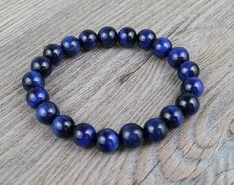 Bracelet de pierres fines oeil de tigre bleu 8mm