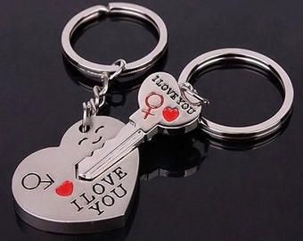"""Heart and Key """"I Love You"""" Keychains for Valentines Day"""