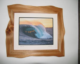 Reclaimed Wood Picture Frame , Sculpted Elm Picture Frame, Breaking Wave