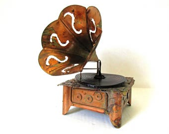 Copper Music Box Phonograph Player, Victrola Record Player, Amazing Grace, Copper Art Sculpture, Gift Idea Music Teacher, Berkeley Design