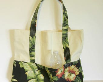 pocket tote bag, market shopping tote, grocery bag, tote, shopping tote, pocket tote, floral tote bag