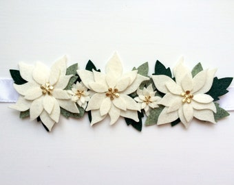 Christmas flower crown -cream poinsettia with various green leaves