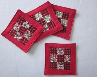 Red Quilted Mug Mats, Coffee Coasters, Mug Rugs, Small Snack Mat