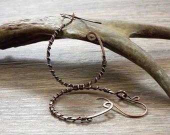 Wire Wrapped Open Hoop Earrings