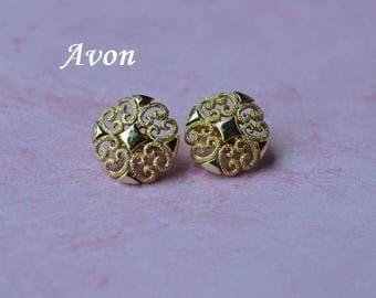 Vintage Avon Earrings, Gold Tone, Clip On Earrings, Gold Earrings, Avon Jewelry, Vintage Earrings, Clip Earrings, GS1005