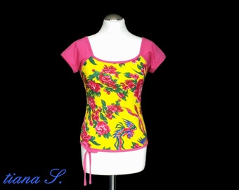 Summer shirt yellow-pink jersey cotton viscose
