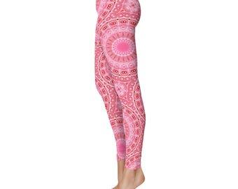Pink Leggings for Women - Yoga Leggings, Cute Leggings, Printed Tights, Mandala Designed Stretchy Yoga Pants
