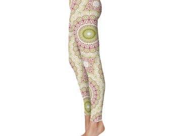 Mandala Flower Leggings - Womens Leggings, Green and Pink Leggings Tights, Yoga Tights Womens Stretch Pants, Yoga Pants