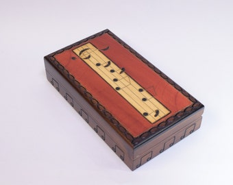 Handmade Wooden Music Box / Trinket Box / Keepsake Box / Music Box / Music notes / Gift for Musican