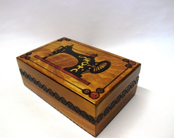 Handmade wooden sewing box/ Sewing basket/Storage box/ Needle box/Sewing Machine Motif