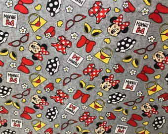 Disney grey flannel Minnie Mouse fabric, Disney fabric, Minnie fabric, kids fabric, cartoon fabric, stylish Minnie fabric