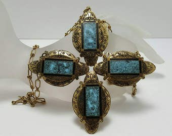 Large Faux Turquoise Necklace