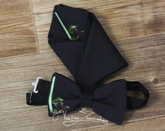 Set Yoda bow tie and handkerchief star wars