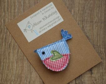 Fabric bird brooch, fabric bird pin, bird brooch, bird pin,  handmade brooch, handmade pin, unique gift, gift for her, teacher gift, fun,