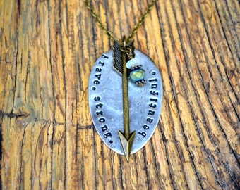 Brave. Strong. Beautiful. | Vintage Spoon Necklace | Hand Stamped Jewelry | Repurposed Silverware Jewelry | Boho Chic Jewelry